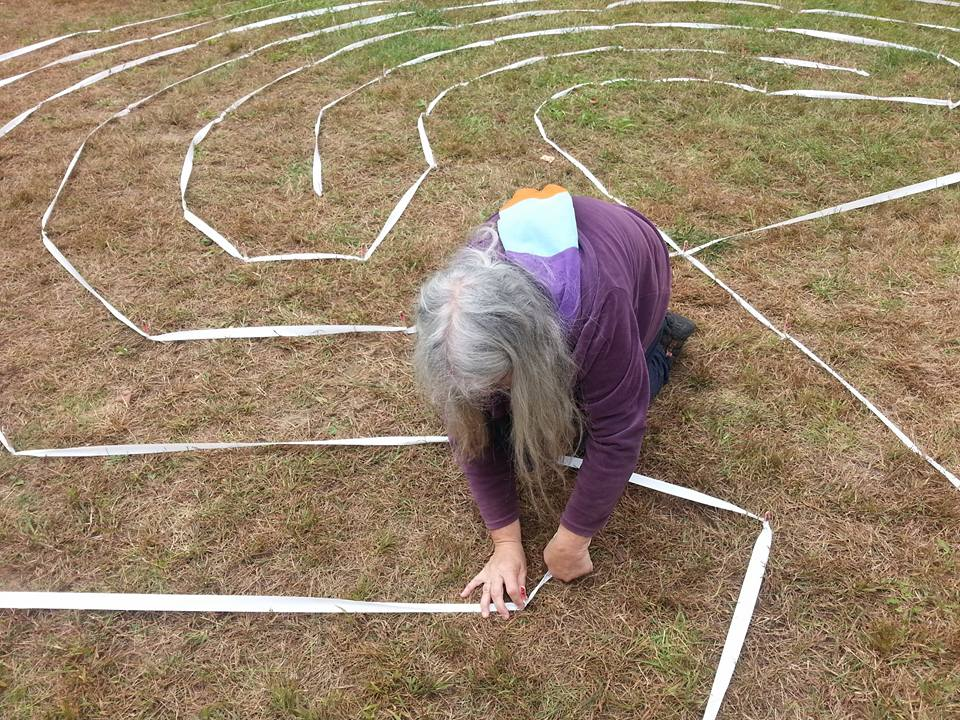 Creating a temporary labyrinth with landscaping tape